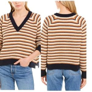 Madewell NWT Arden Striped V-Neck Pullover Sweater